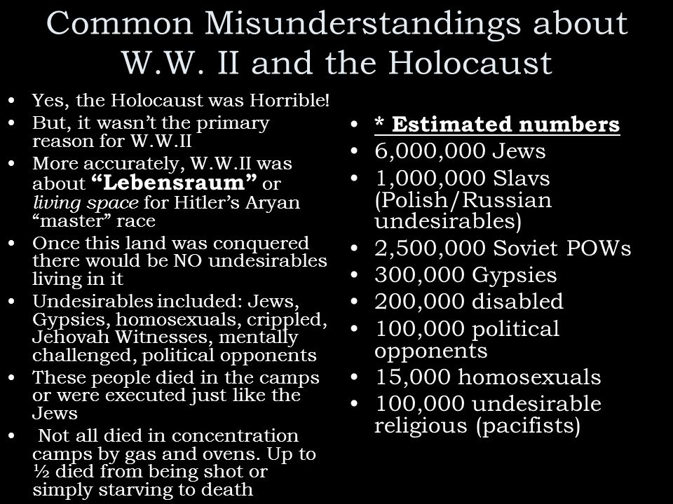 Common Misunderstandings about W.W. II and the Holocaust