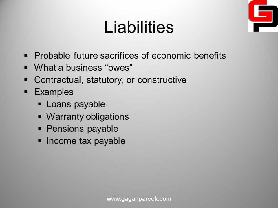 Liabilities Probable future sacrifices of economic benefits