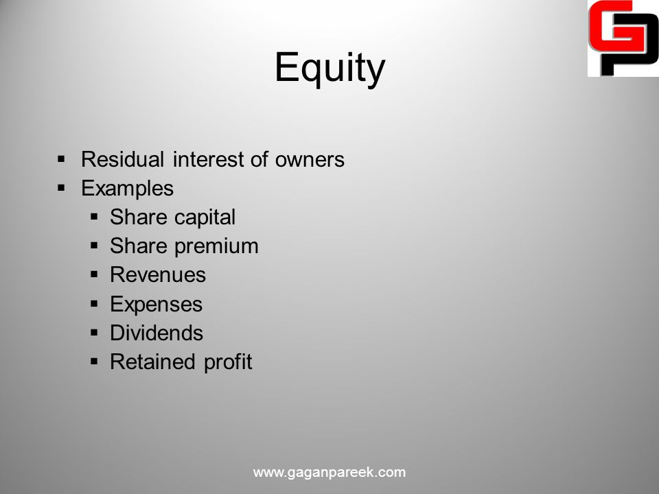 Equity Residual interest of owners Examples Share capital