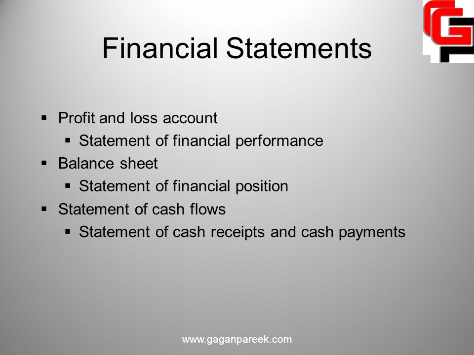 Financial Statements Profit and loss account