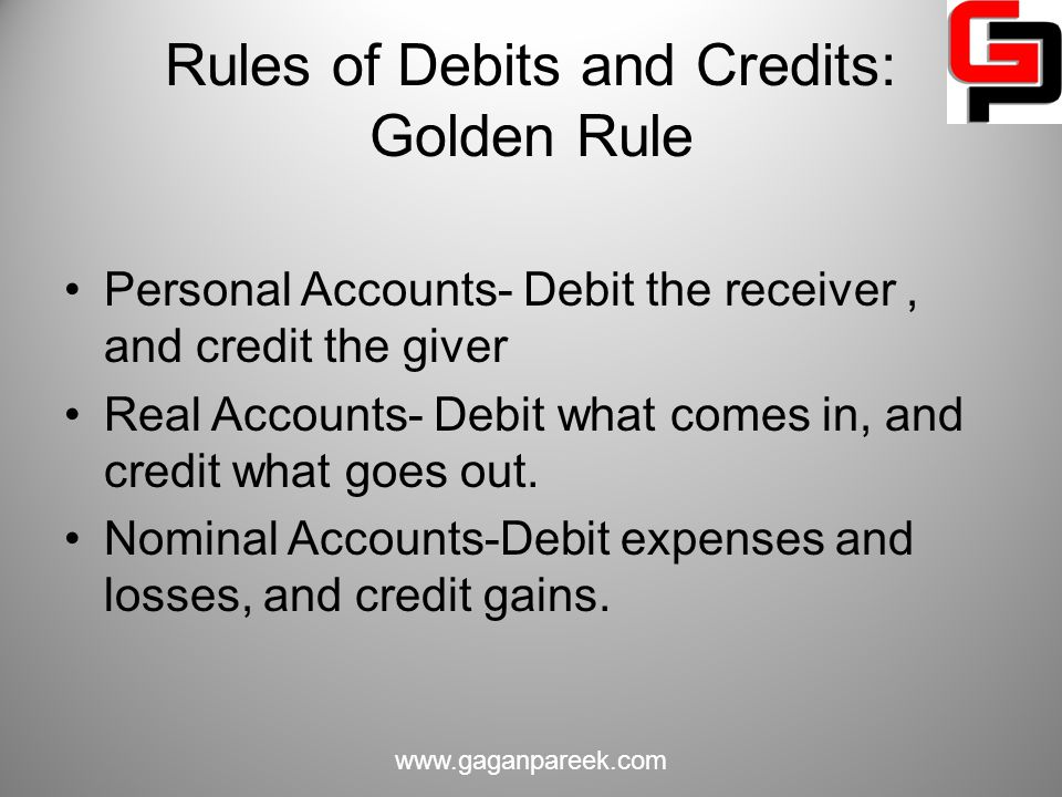 Rules of Debits and Credits: Golden Rule