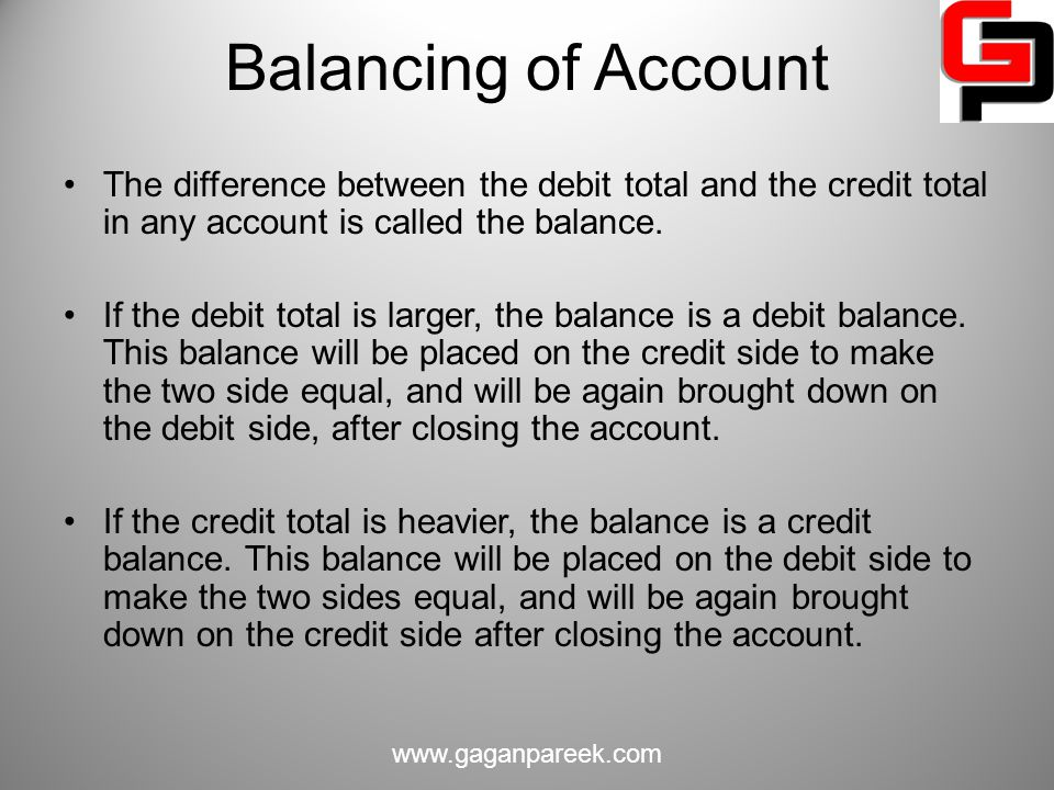 Balancing of Account The difference between the debit total and the credit total in any account is called the balance.