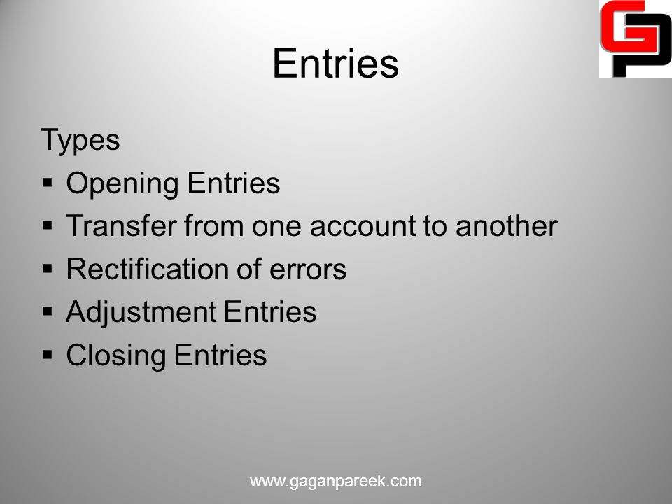 Entries Types Opening Entries Transfer from one account to another