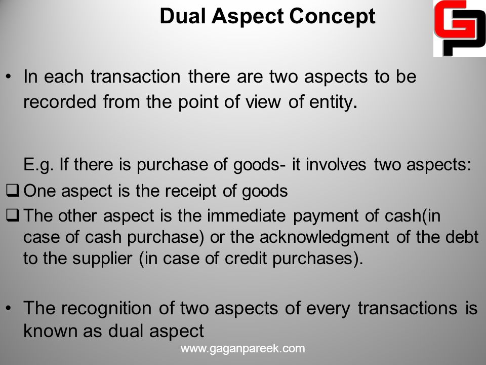 E.g. If there is purchase of goods- it involves two aspects: