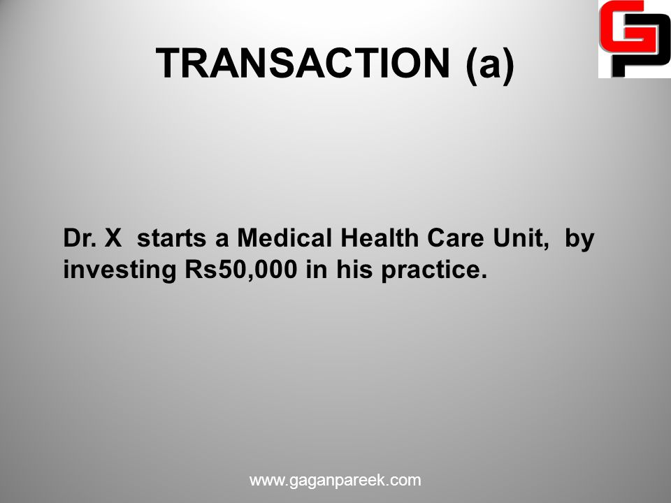 TRANSACTION (a) Dr. X starts a Medical Health Care Unit, by investing Rs50,000 in his practice.