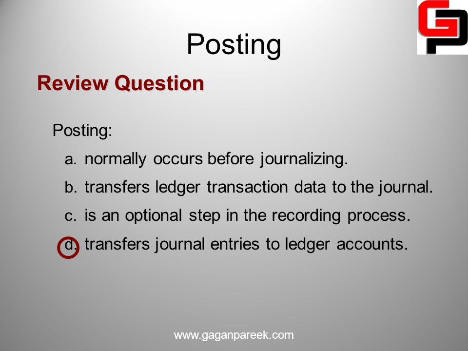 Posting Review Question Posting: normally occurs before journalizing.