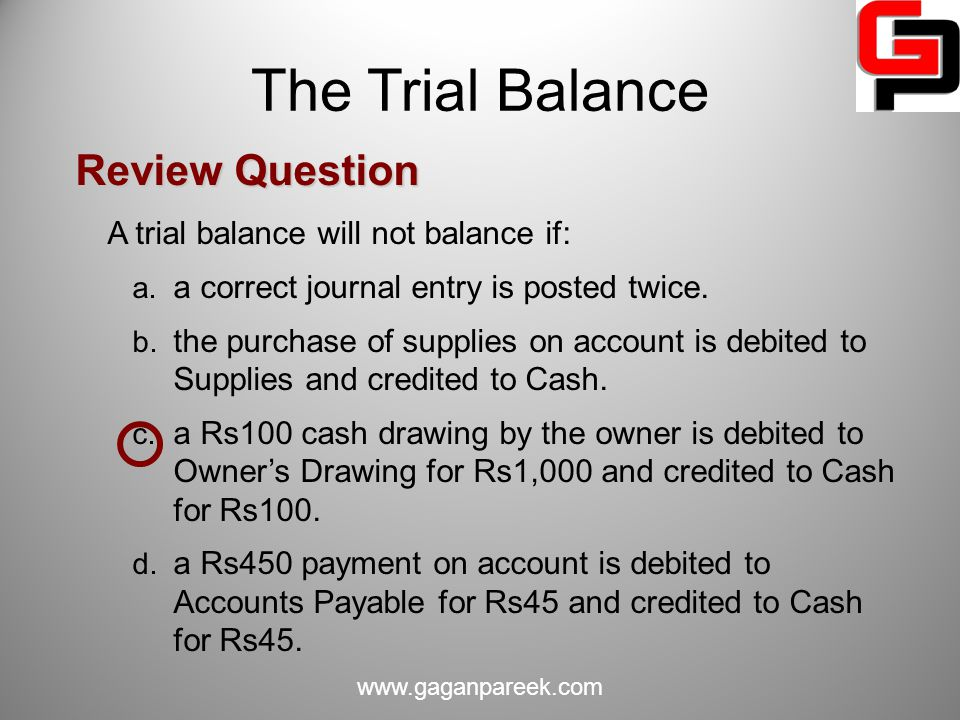 The Trial Balance Review Question A trial balance will not balance if: