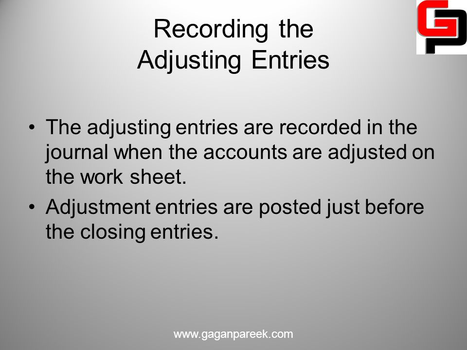 Recording the Adjusting Entries