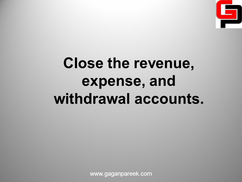 Close the revenue, expense, and withdrawal accounts.