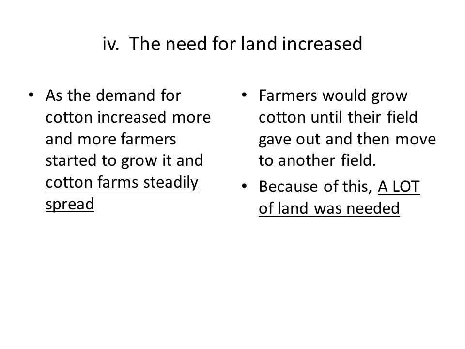 iv. The need for land increased