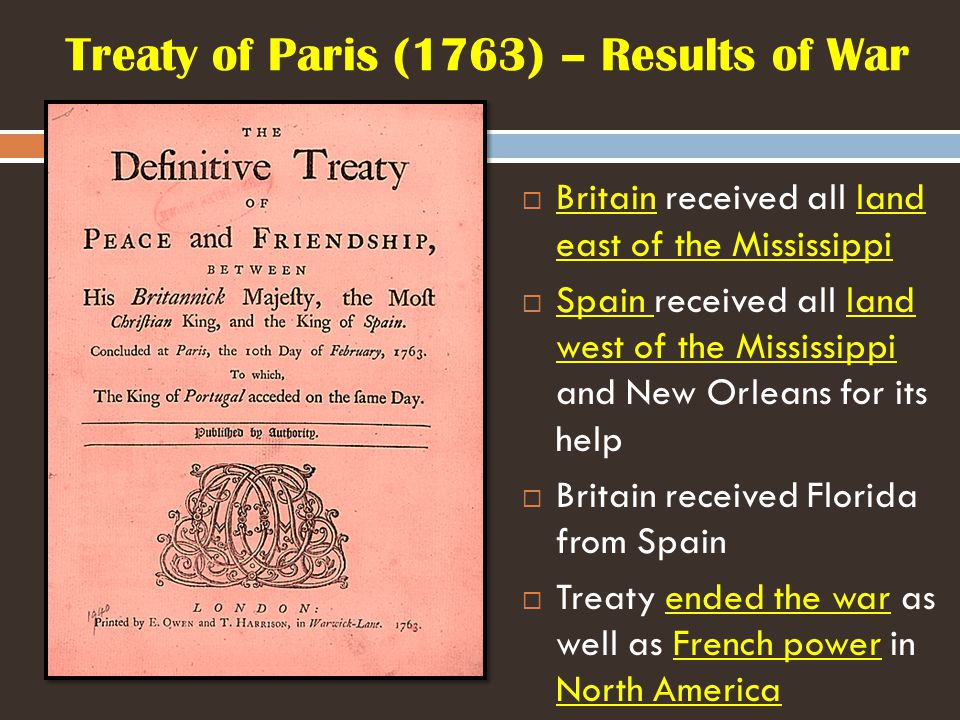 Treaty of Paris (1763) – Results of War