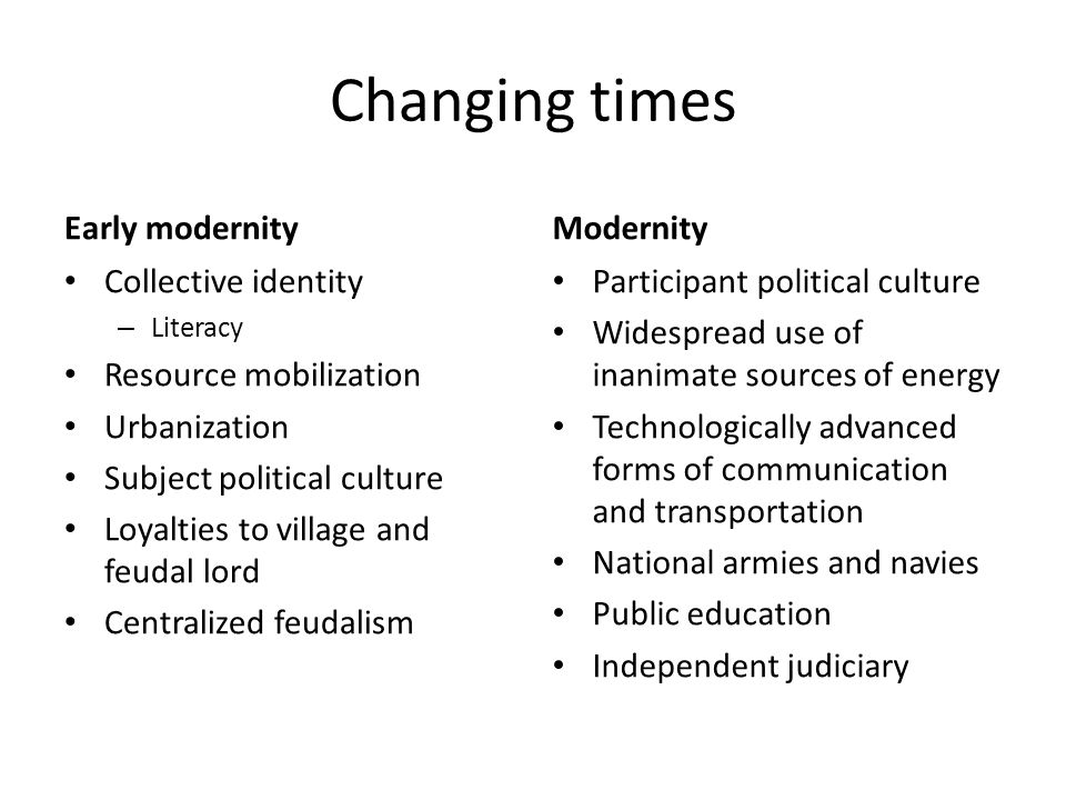 Changing times Early modernity Modernity Collective identity