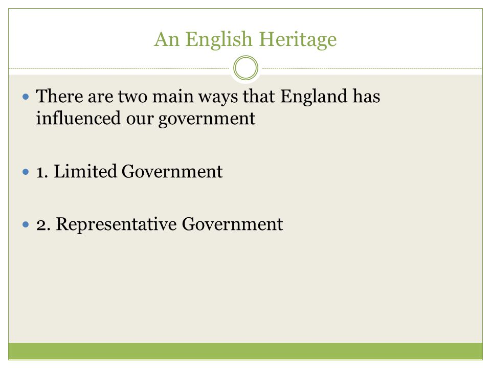 An English Heritage There are two main ways that England has influenced our government. 1. Limited Government.