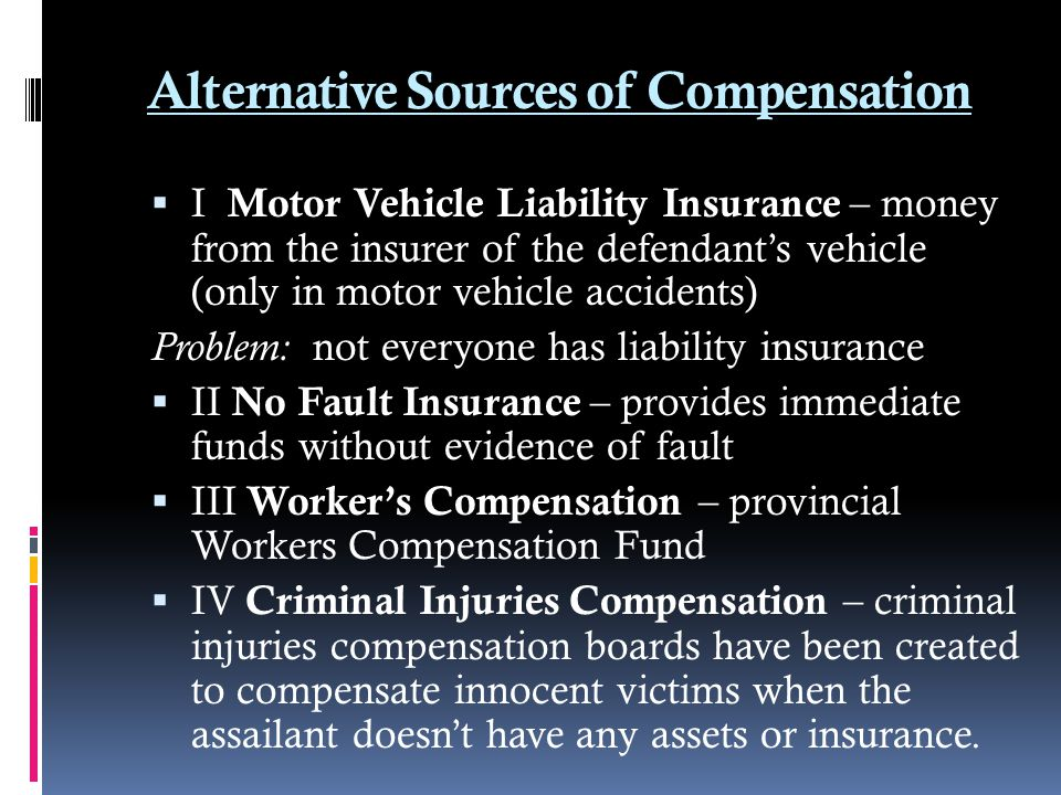 Alternative Sources of Compensation
