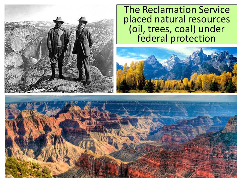 The Reclamation Service placed natural resources (oil, trees, coal) under federal protection