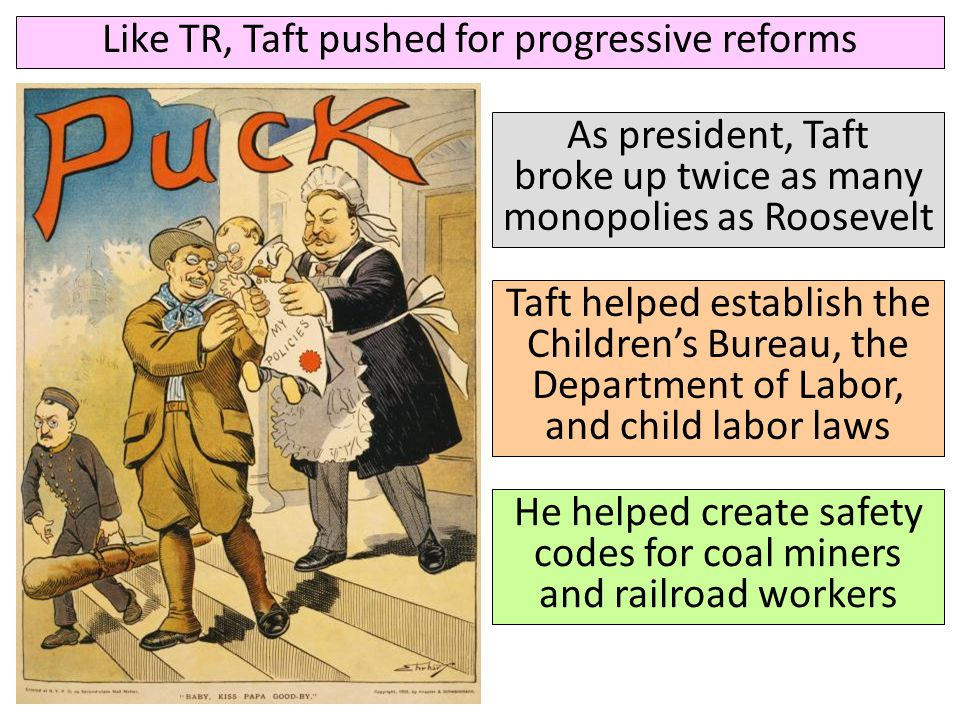 Like TR, Taft pushed for progressive reforms