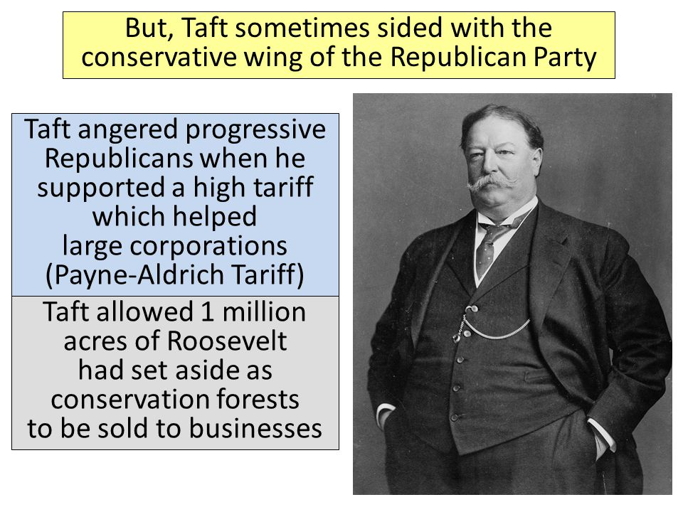 But, Taft sometimes sided with the conservative wing of the Republican Party