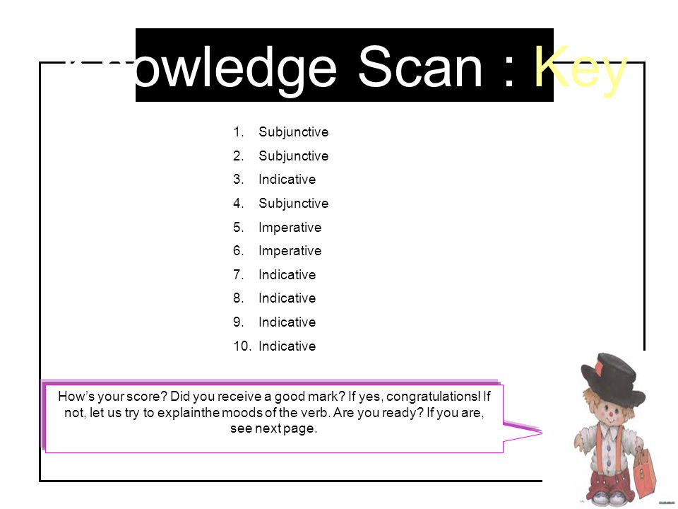 Knowledge Scan : Key Subjunctive Indicative Imperative