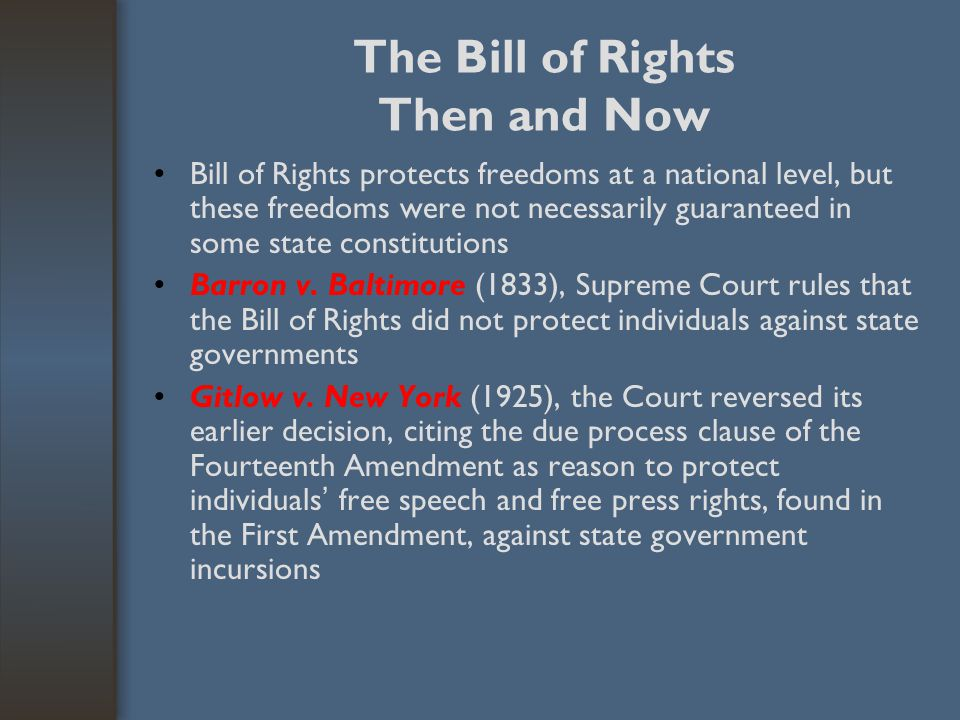 The Bill of Rights Then and Now