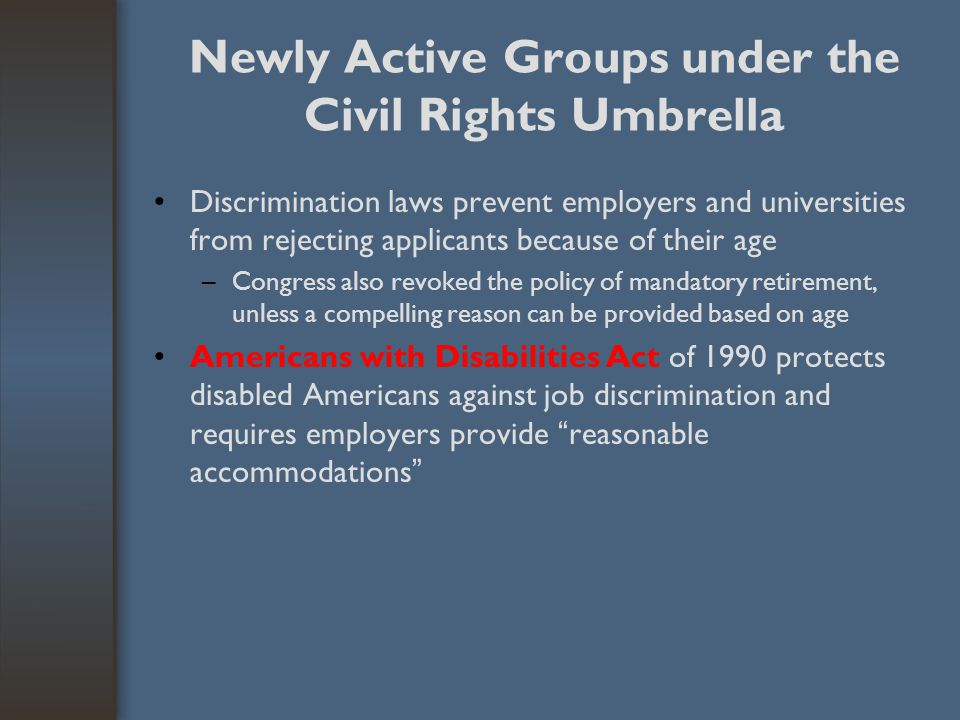 Newly Active Groups under the Civil Rights Umbrella