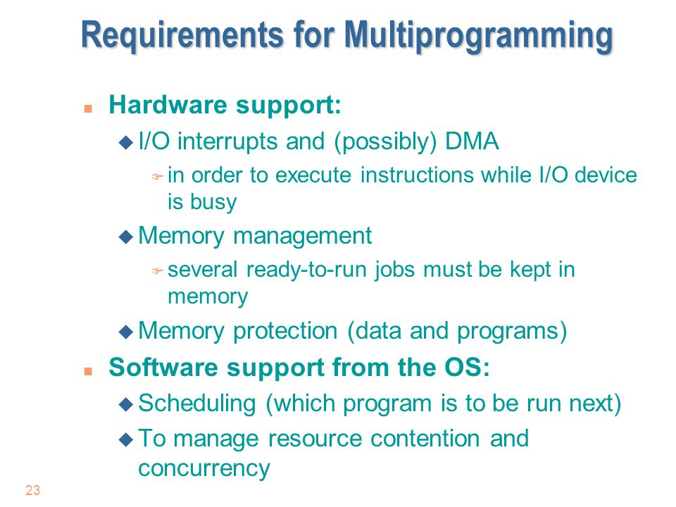 Requirements for Multiprogramming