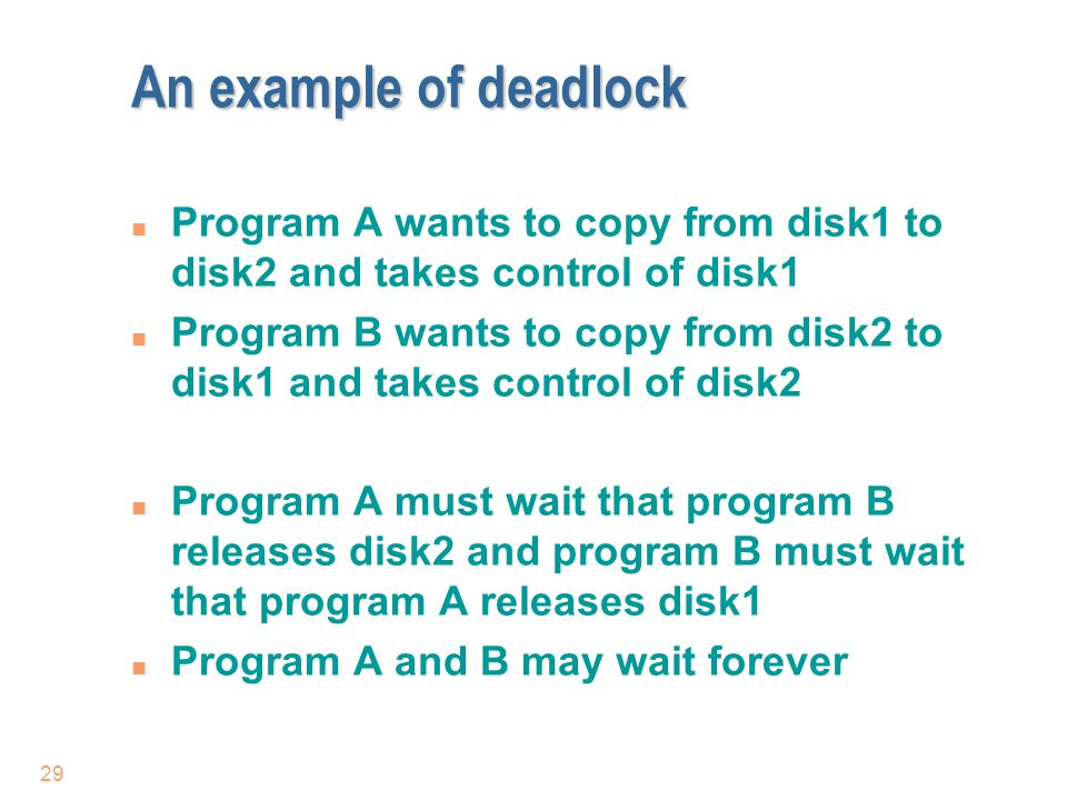 An example of deadlock Program A wants to copy from disk1 to disk2 and takes control of disk1.