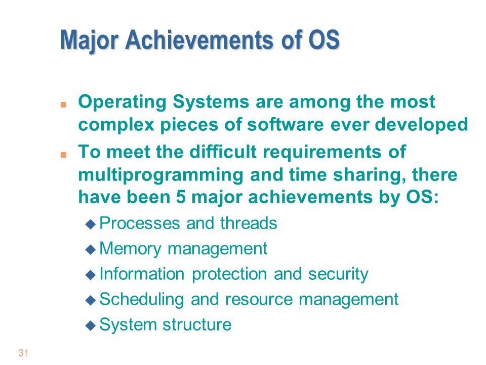 Major Achievements of OS