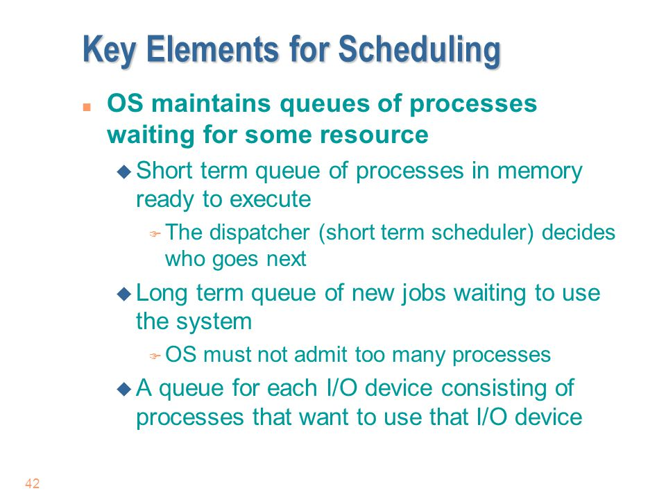 Key Elements for Scheduling