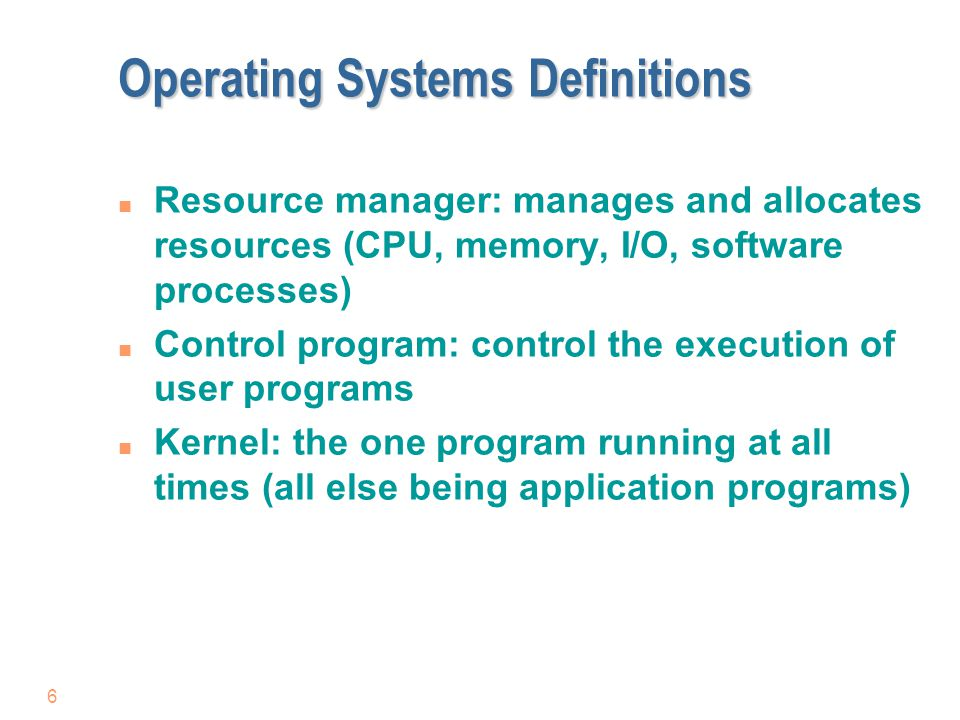 Operating Systems Definitions