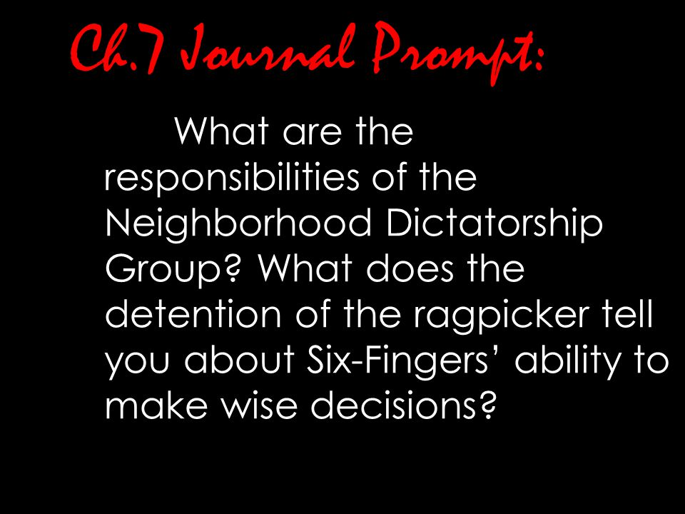 Ch.7 Journal Prompt:
