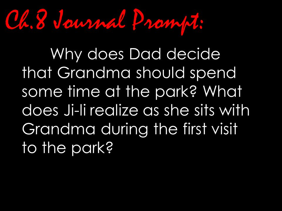 Ch.8 Journal Prompt: