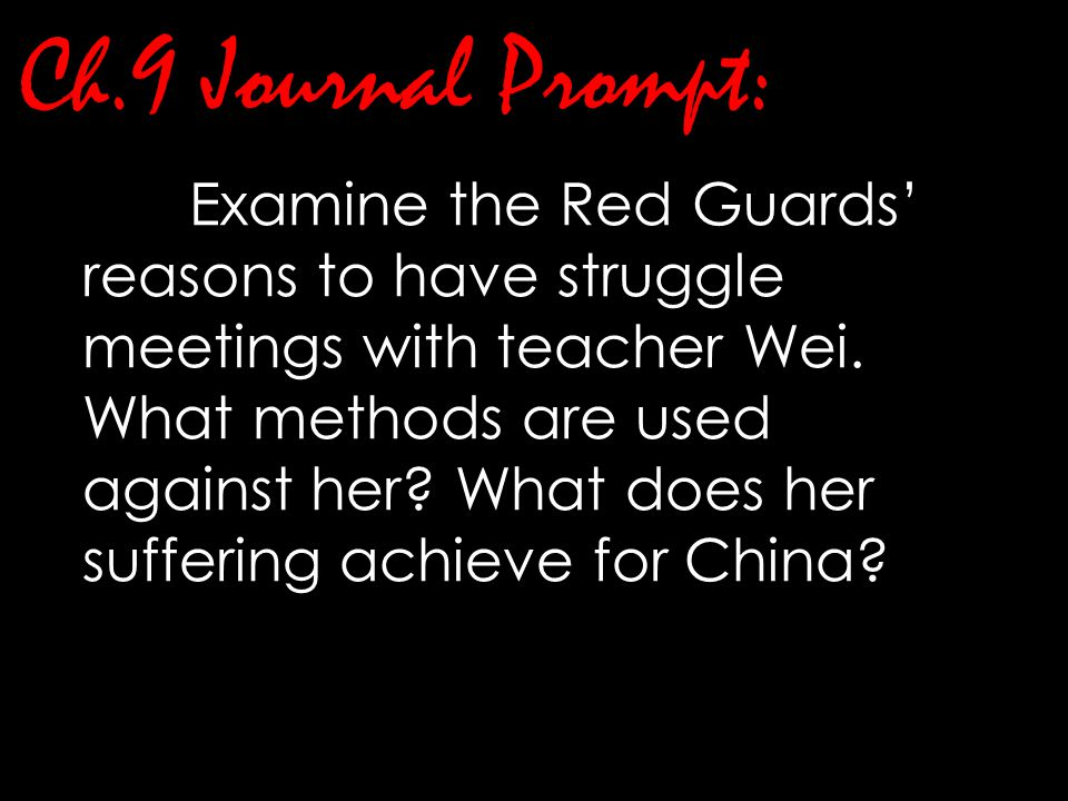 Ch.9 Journal Prompt: