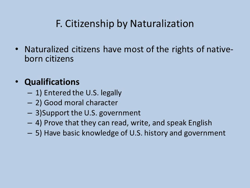 F. Citizenship by Naturalization