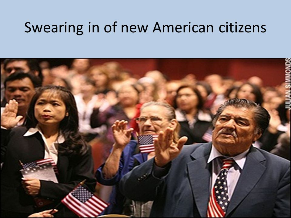 Swearing in of new American citizens