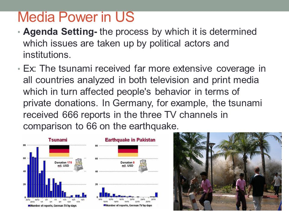 Media Power in US Agenda Setting- the process by which it is determined which issues are taken up by political actors and institutions.