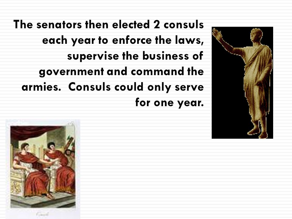 The senators then elected 2 consuls each year to enforce the laws, supervise the business of government and command the armies.