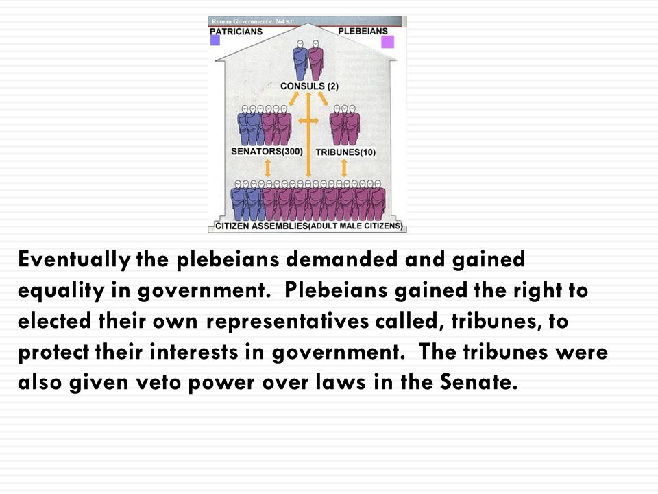 Eventually the plebeians demanded and gained equality in government