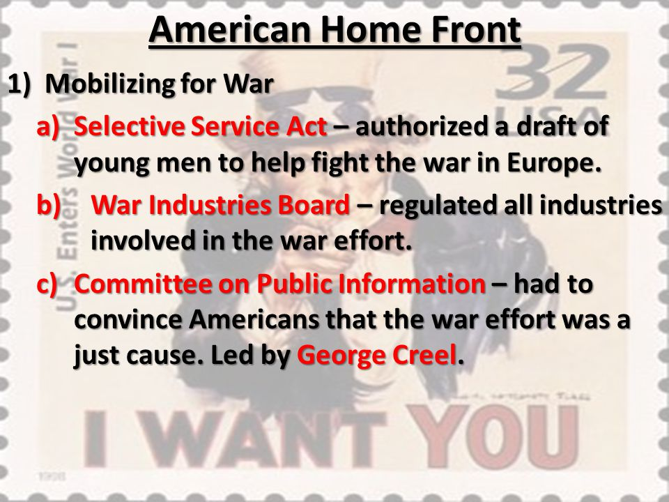 American Home Front Mobilizing for War