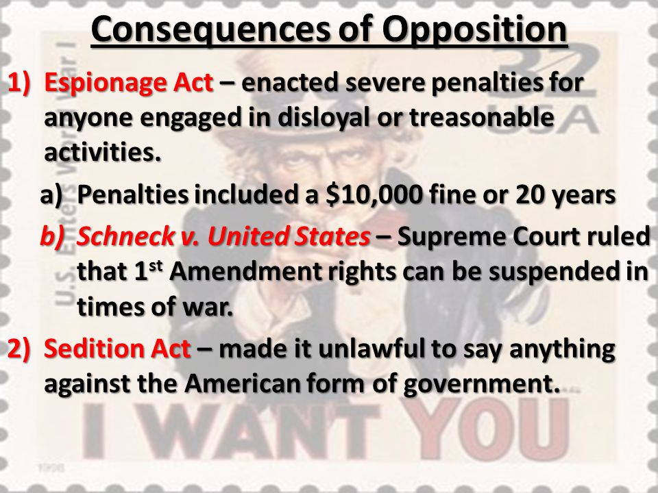 Consequences of Opposition