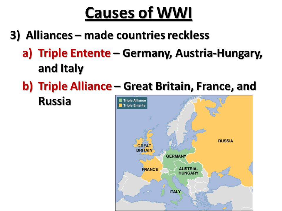 Causes of WWI Alliances – made countries reckless