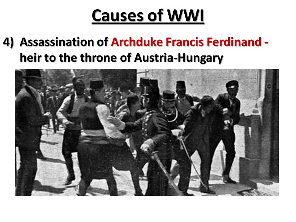 Causes of WWI Assassination of Archduke Francis Ferdinand - heir to the throne of Austria-Hungary