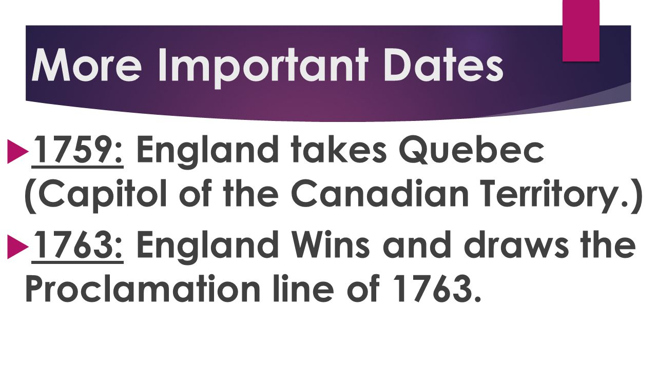More Important Dates 1759: England takes Quebec (Capitol of the Canadian Territory.) 1763: England Wins and draws the Proclamation line of 1763.