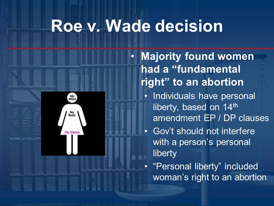 Roe v. Wade decision Majority found women had a fundamental right to an abortion.