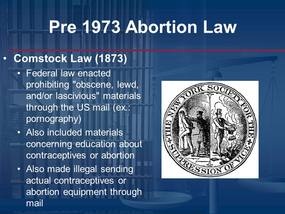 Pre 1973 Abortion Law Comstock Law (1873)