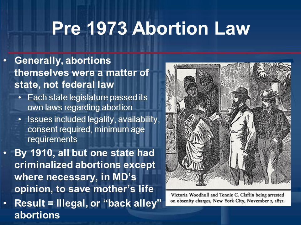Pre 1973 Abortion Law Generally, abortions themselves were a matter of state, not federal law.