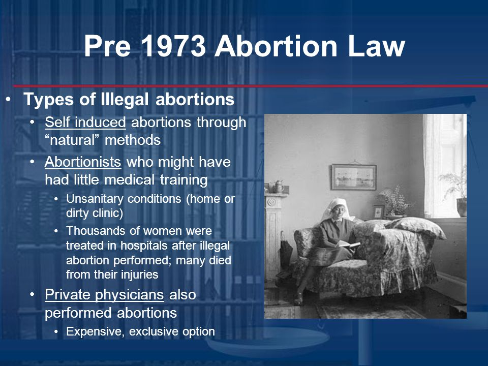Pre 1973 Abortion Law Types of Illegal abortions