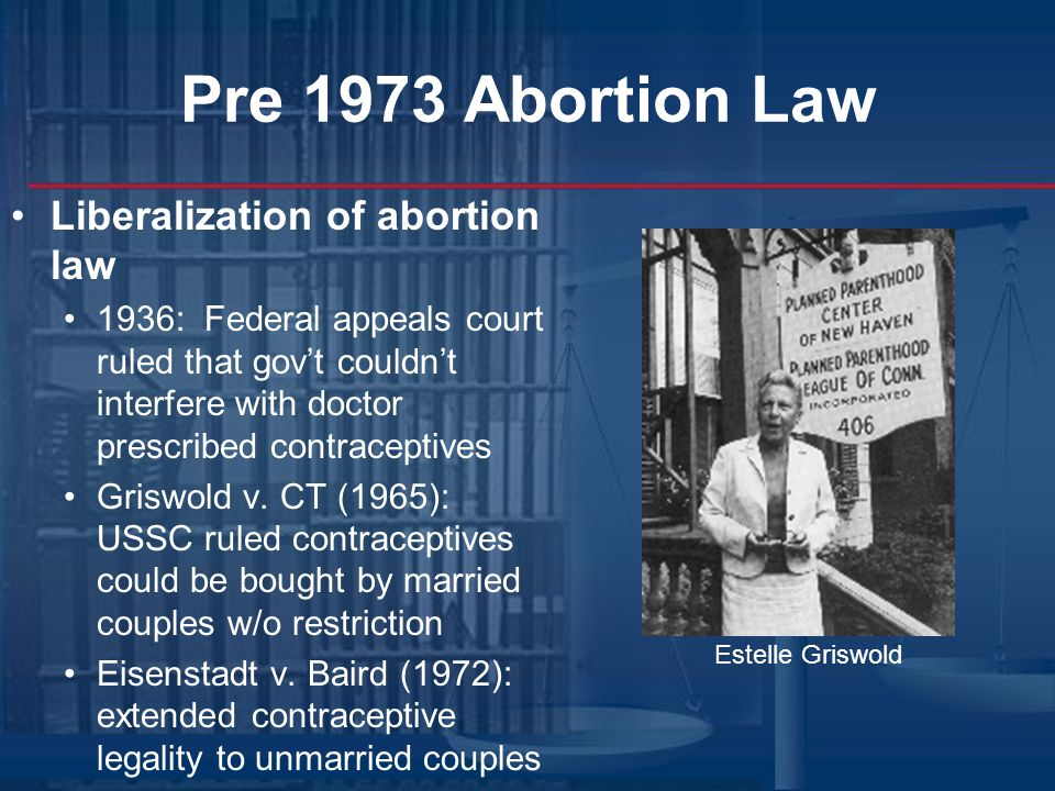Pre 1973 Abortion Law Liberalization of abortion law
