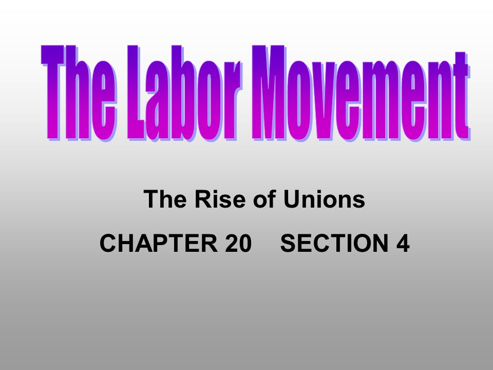 The Labor Movement The Rise of Unions CHAPTER 20 SECTION 4