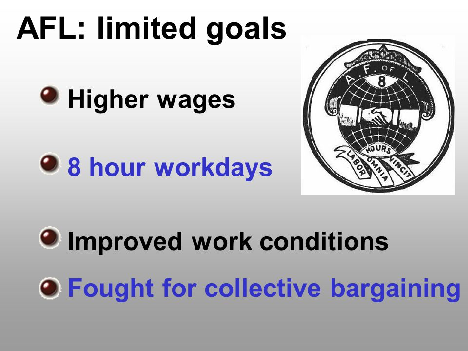 AFL: limited goals Higher wages 8 hour workdays