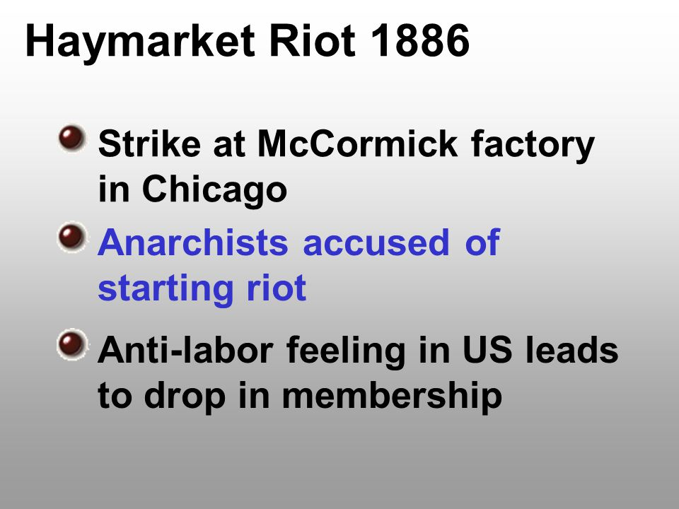 Haymarket Riot 1886 Strike at McCormick factory in Chicago